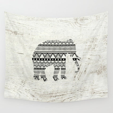 タペストリー Aztec Tribal Elephant Black White Vintage Wood  by Girly Trend
