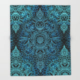 ブランケット Black & Aqua Protea Doodle Pattern by micklyn