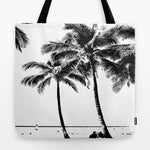 トートバッグ Black and White Palm Tree with Hawaii Summer Sea Beach