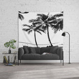 タペストリー Black and White Palm Tree with Hawaii Summer Sea Beach