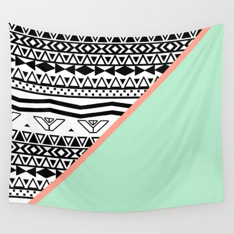 タペストリー Block | Black White Aztec Pattern Mint Green Color Block by Girly Trend