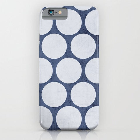 スマホケース blue and white polka dots by her art