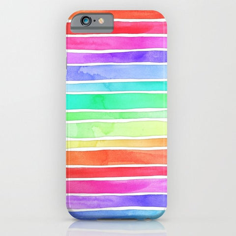 スマホケース Bright Rainbow Colored Watercolor Paint Stripes by micklyn