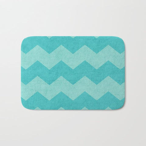 バスマット chevron - aqua and teal by her art
