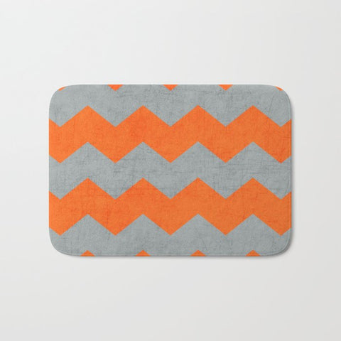 バスマット chevron- gray and orange by her art