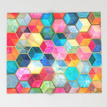 ブランケット Crystal Bohemian Honeycomb Cubes colorful hexagon by micklyn