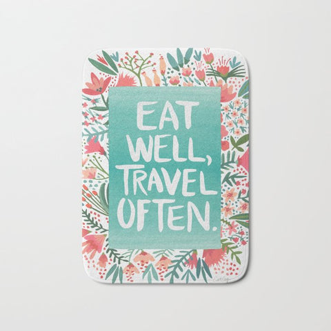 バスマット Eat Well, Travel Often Bouquet by Cat Coquillette