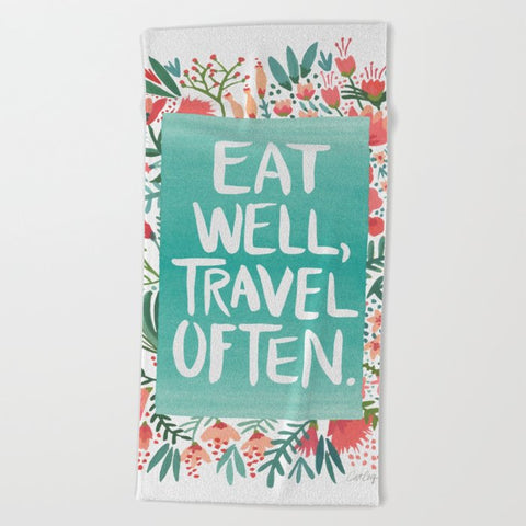 タオル Eat Well, Travel Often Bouquet by Cat Coquillette