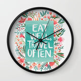 壁掛け時計 Eat Well, Travel Often Bouquet by Cat Coquillette