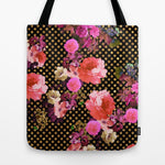 トートバッグ Elegant Pink Vintage Flowers Black Gold Polka Dots by Girly Trend