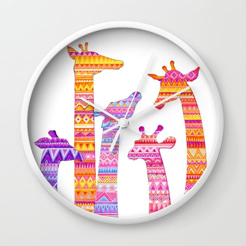 壁掛け時計 Giraffe Silhouettes in Colorful Tribal Print by Annya Kai