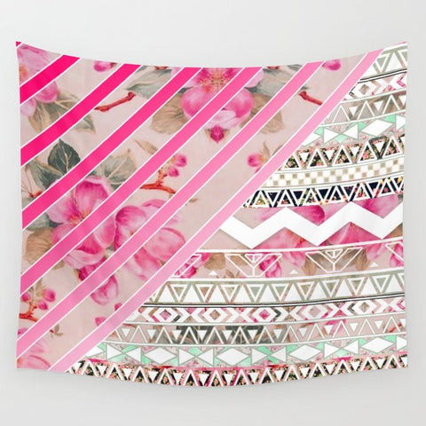 タペストリー Girly Pink Stripes Floral Abstract Aztec Pattern by Girly Trend
