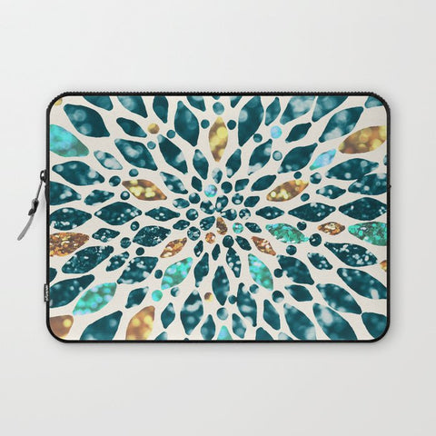 パソコンケース Glitter Dahlia in Gold, Aqua and Ocean by Tangerine-Tane