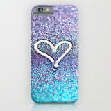 スマホケース glitter heart- photograph of glitter  by Sylvia Cook