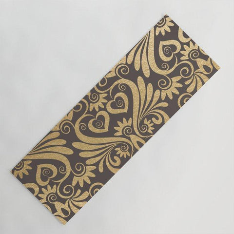 ヨガマット gold swirls damask 5