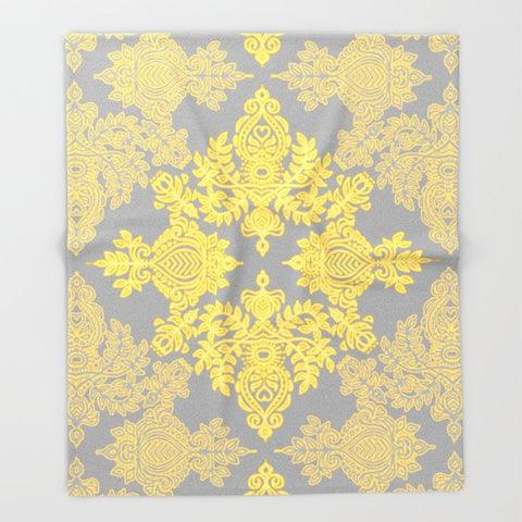 ブランケット Golden Folk - doodle pattern in yellow & grey by micklyn