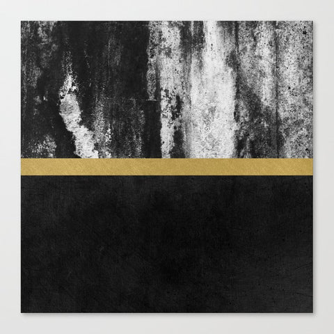 キャンバスアートプリント Golden Line / Black by Elisabeth Fredriksson