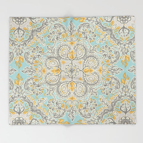ブランケット Gypsy Floral in Soft Neutrals, Grey Yellow by micklyn