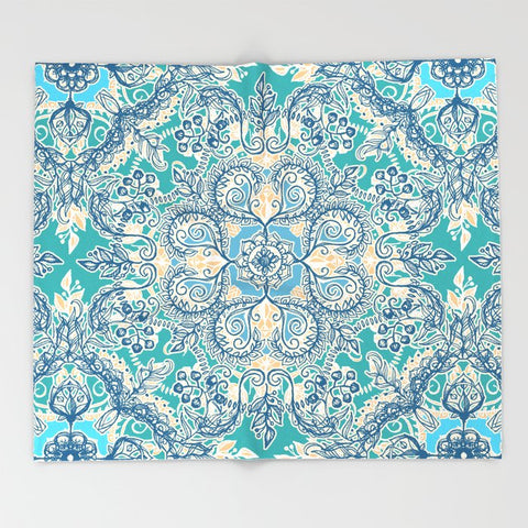 ブランケット Gypsy Floral in Teal & Blue by micklyn