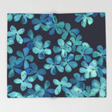 ブランケット Hand Painted Floral Pattern in Teal Navy Blue by micklyn