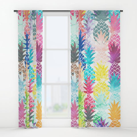 ウィンドウカーテン Hawaiian Pineapple Pattern Tropical Watercolor by Girly Trend