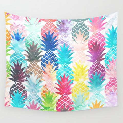 タペストリー Hawaiian Pineapple Pattern Tropical Watercolor by Girly Trend