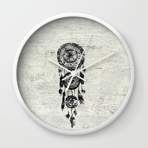 壁掛け時計 Hipster Lace black dreamcatcher on white wood by Girly Trend