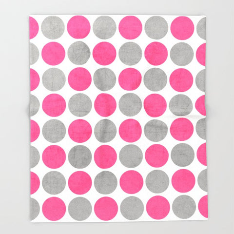 ブランケット hot pink and gray dots by her art