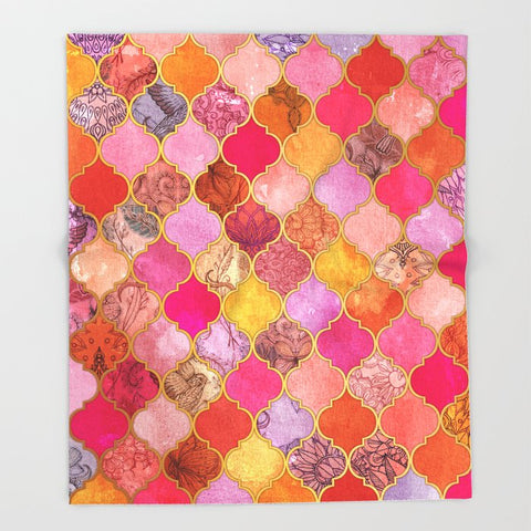 ブランケット Hot Pink Gold Tangerine Taupe Decorative Moroccan by micklyn