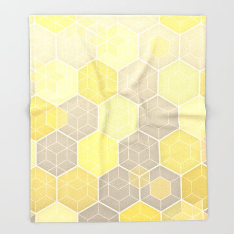 ブランケット Lemon & Grey Honeycomb by micklyn