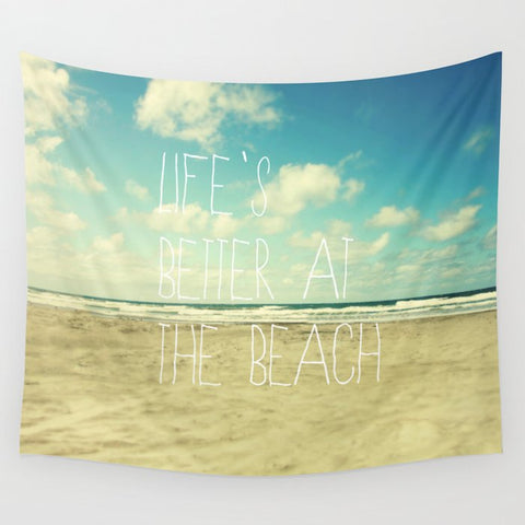 <即納品>タペストリー life's better at the beach by Sylvia Cook Photography 約202cm×約172cm