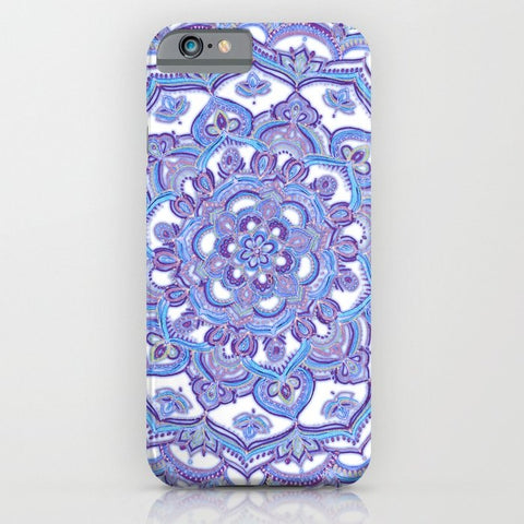 スマホケース Lilac Spring Mandala floral purple white by micklyn