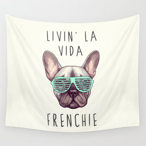 タペストリー Livin' la vida Frenchie by PaperTigress