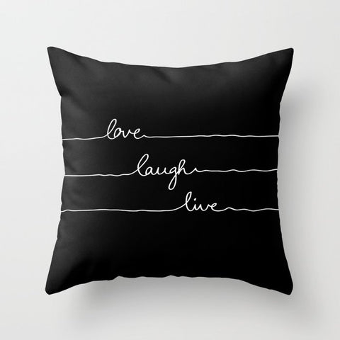 正方形 クッション・クッションカバー Love Laugh Live (Black) by Mareike B?hmer Graphics