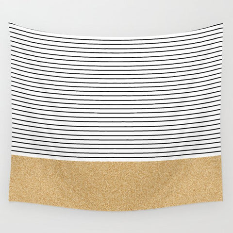 タペストリー Minimal Gold Glitter Stripes by Allyson Johnson