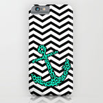 スマホケース Mint Leopard Chevron Anchor by M Studio