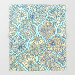 ブランケット Moroccan Floral Lattice Arrangement - aqua / teal by micklyn