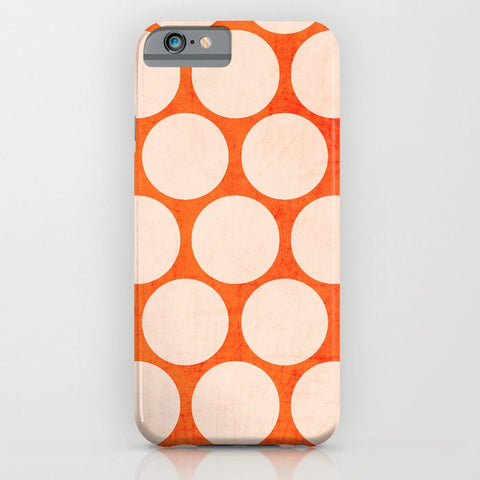 スマホケース orange and white polka dots by her art