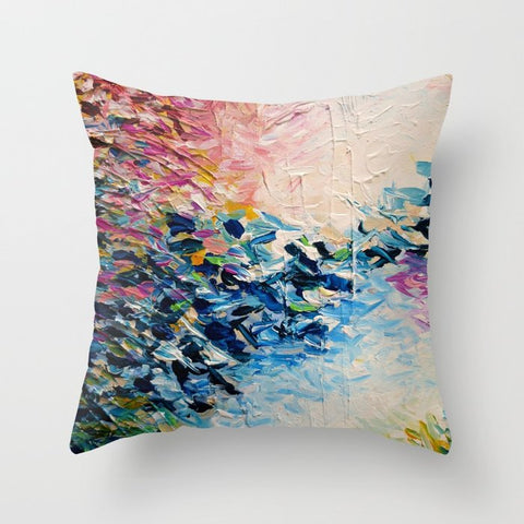 正方形 クッション・クッションカバー PARADISE DREAMING Colorful Pastel Abstract Art Painting Textural Pink Blue Tropical Brushstrokes by EbiEmporium