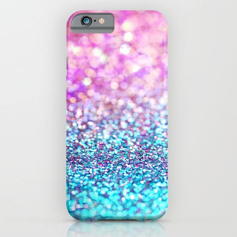 スマホケース Pastel sparkle- photograph of pink and turquoise glitter