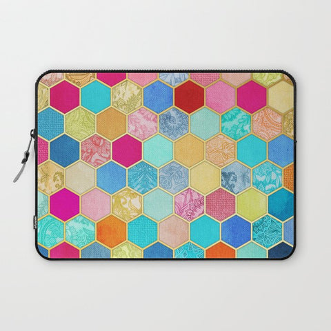 パソコンケース Patterned Honeycomb Patchwork in Jewel Colors by micklyn