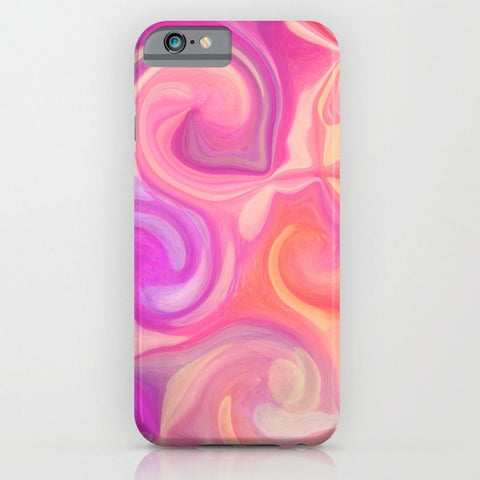 スマホケース pink and orange swirls by Sylvia Cook Photography