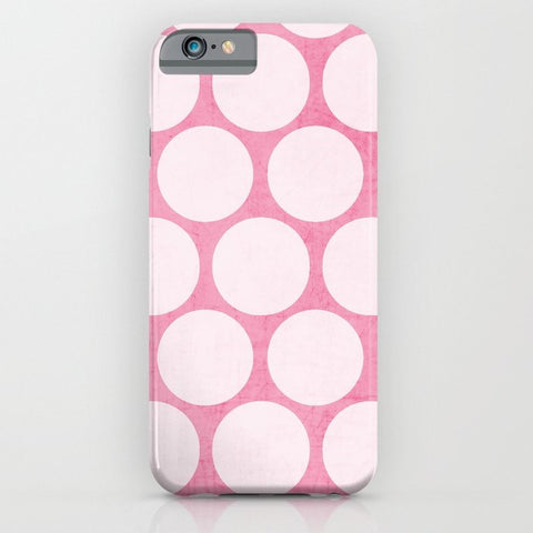スマホケース pink and white polka dots by her art