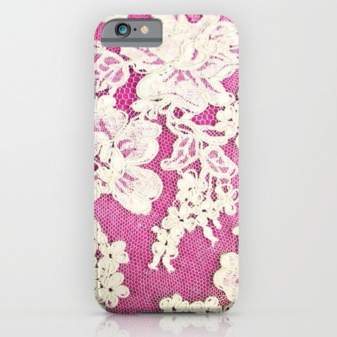 スマホケース pink lace-photograph of vintage lace by Sylvia Cook