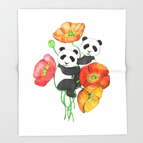 ブランケット Poppies & Pandas by micklyn