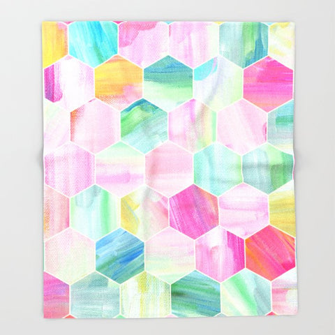 ブランケット Pretty Pastel Hexagon Pattern in Oil Paint by micklyn
