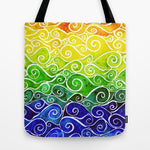 トートバッグ Rainbow Water Waves by Dawn Bevins