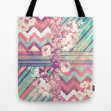 トートバッグ Retro Pink Turquoise Floral Stripe Chevron Pattern by Girly Trend