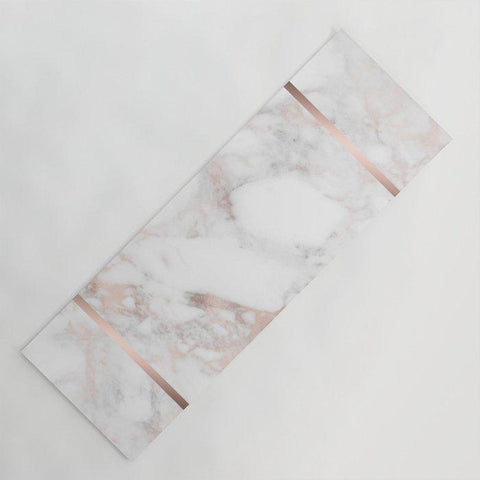 ヨガマット rose gold white faux marble