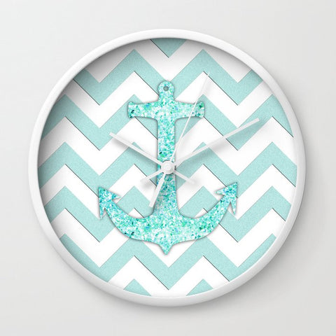 壁掛け時計 Glitter Nautical Anchor, Teal Blue Chevron Pattern by Productoslocos